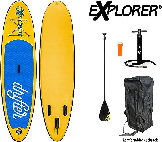 EXPLORER Sup Drifter 290x 75x 10cm Gonflable isup Gonflable Pagaie de Stand up Paddle Board Set Pompe en Aluminium Planche de Surf Aqua pagaies