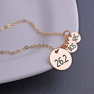 Marathon Necklace - 26.2 Necklace - Silver, Gold & Rose Gold - Gift for Runner - Custom Charm Options