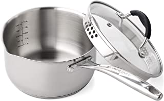 AVACRAFT Stainless Steel Saucepan with Glass Lid, Strainer Lid, Two Side Spouts for Easy..
