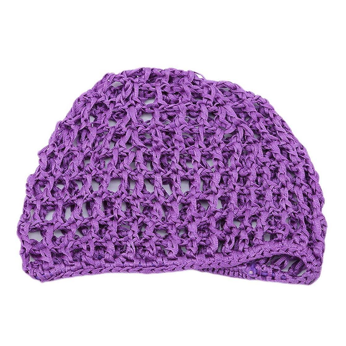 サイレント足取るLJSLYJ 女性の手かぎ針編みの髪の編まれた髪のネットアクセサリー弾性髪のネットキャップスリーピングキャップ、紫色