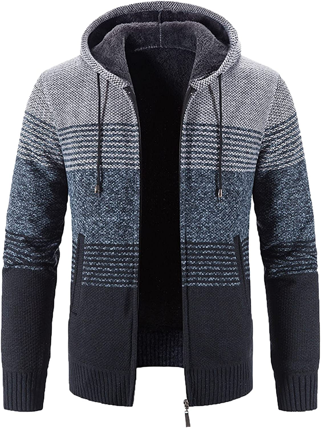 XXBR Cardigan Sweater for Mens, Fall Winter Knit Boho Patchwork Warm Jacket Zipper Button Open Front Casual Jumper Coat
