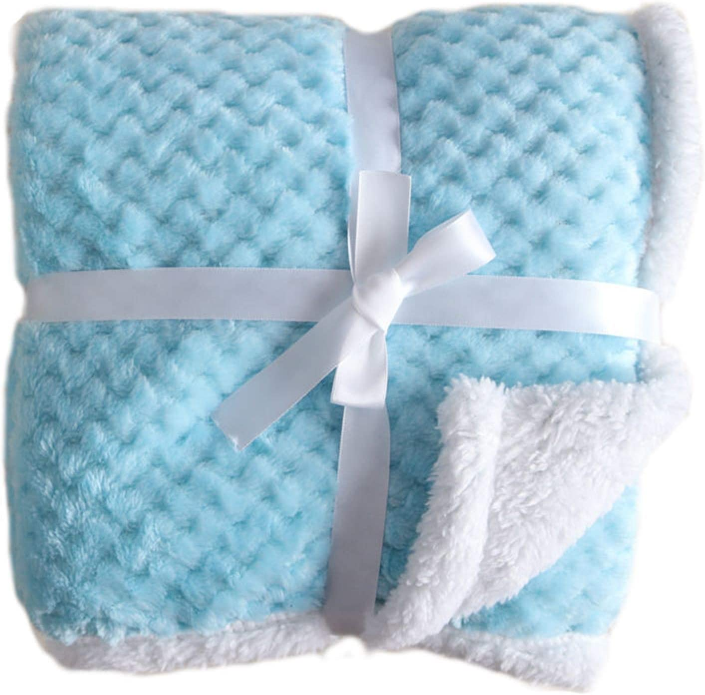 wmx Couvertures bébé for Garder Couverture Chaude en Peluche Grille Poussette bébé Literie de bébé Couverture Enveloppé (Color : Blue A) White Dot