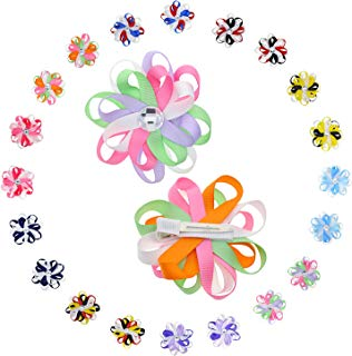 Babies Rhinestone Flower Hair Clip with Multicolored 2-layer Eight Petals -10 Pairs & 3 Inch