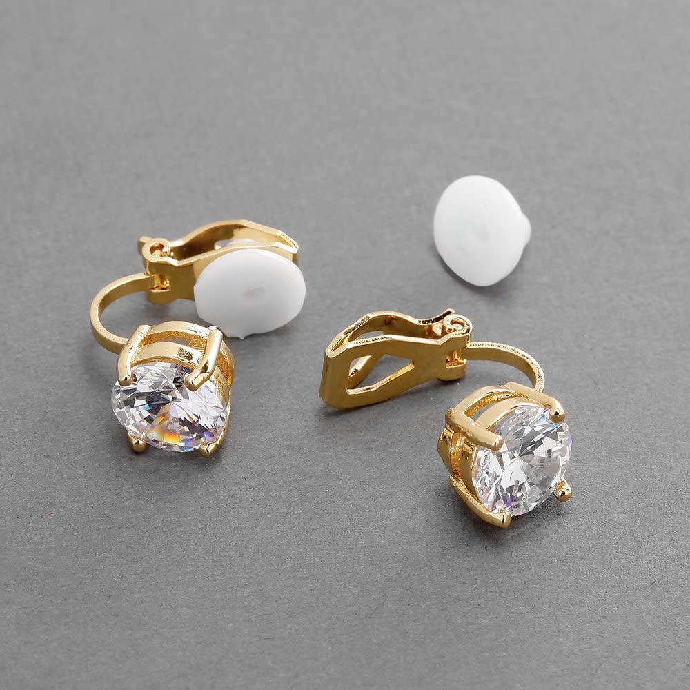 Mariell Cubic Zirconia Crystal Gold Wedding Clip On Stud Earrings for Women, 2 Carat 8mm Round-Cut CZ