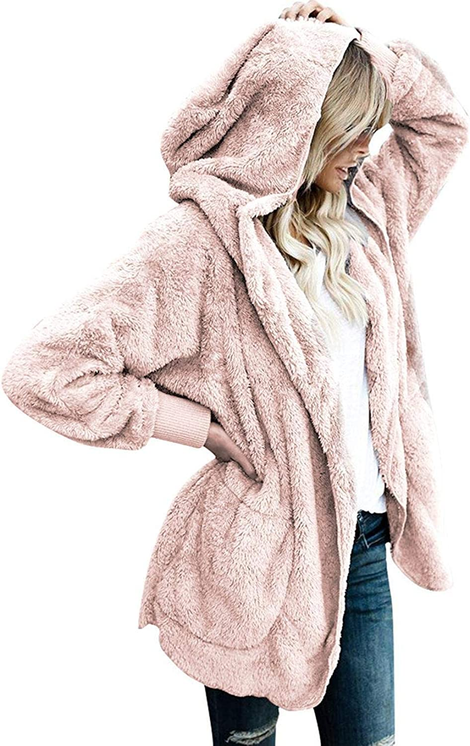 Baguet Women Casual Fuzzy Fleece Hooded Cardigan Open Front Fleece Solid Coat Jacket Faux Fur Outerwear