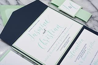Personalized Wedding Pocket Folders, Horizontal Wedding Invitation Set, Jasmine Sample