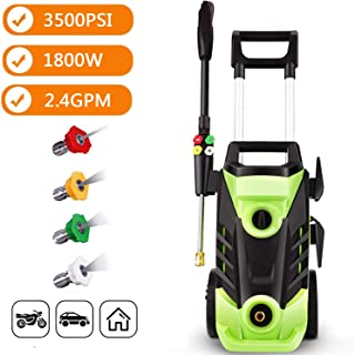 3500 PSI Electric Pressure Washer, 1800W Power Washer, 2.6GPM High Pressure Washer with Hose Reel and 4 Quick-Connect Spray Tips