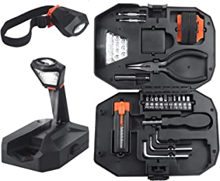 23 Piece Tool Set Work Light & Headlamp/Household Hand Tool Kit with Plastic Toolbox/Tool Sets for Men