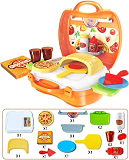 UNIH Pretend Play Kitchen Toddler Toys Food Cooking Pizza Suitcase for Kids Birthday Gift