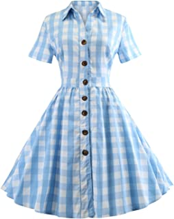 Women's 1950s Vintage Cap Sleeve V Neck Plaid Swing Dress with Pockets