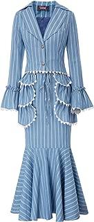 Women 3pcs Set Vintage Victorian Costume Edwardian Dress Suit Coat+Skirt+Apron