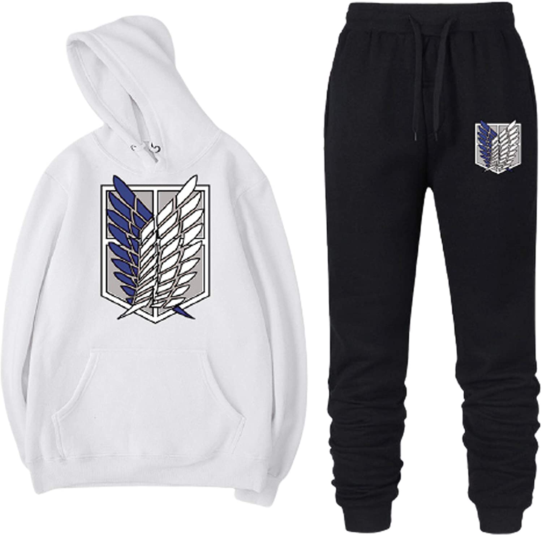 KAROYEE Attack on Titan Hoodie Pants 2 Pieces Suit Pullover Sweatshirts Jogger Pants Long Sleeve Casual Tracksuit