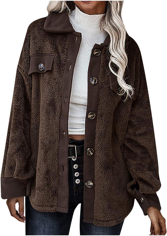 Denver Mall Jackets for Women Lapel Long Sleeve Bu Sherpa Coat Jacket Fleece 5 popular