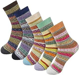KAIXLIONLY Women Winter Socks 5 Pairs Thick Warm Wool Vintage Slipper Socks Gifts Men Cozy Crew Socks
