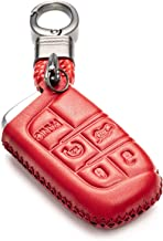 Vitodeco Genuine Leather Smart Key Keyless Remote Entry Fob Case Cover with Key Chain for Jeep, Dodge, Chrysler (5 Buttons, Red)