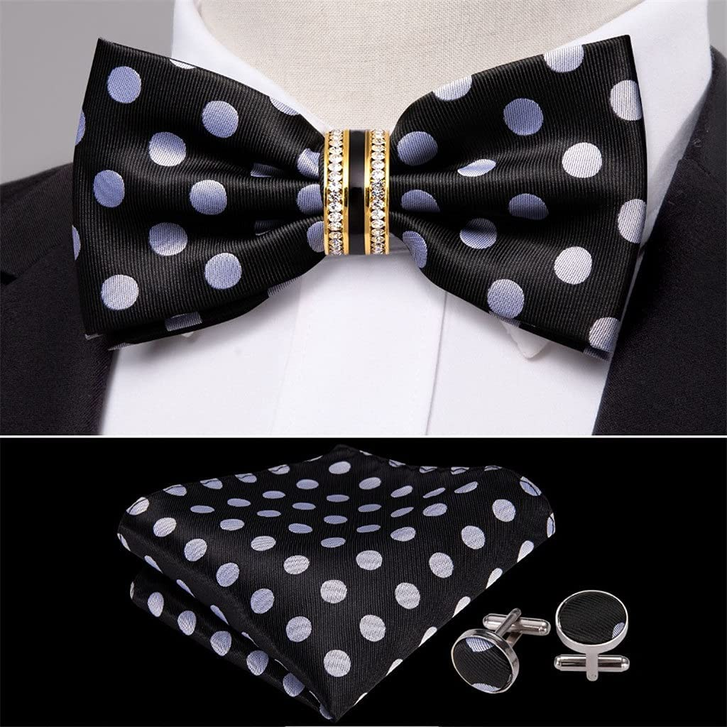 CDQYA Black Polka Dot Silk Bow Tie For Men Wedding Accessories Adjustable Butterfly Removable Diamond Ring Set (Color : Black Polka Dot, Size : One size)