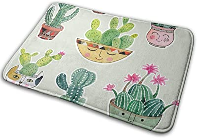 Cactus Pots Super Absorbent Mat Interior and Exterior Decorative Carpet Doormat Bathroom 40x60
