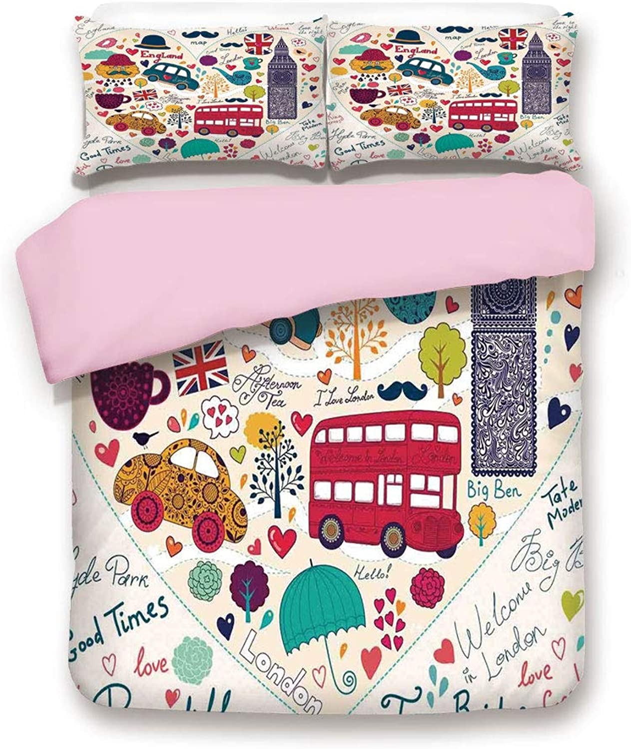 Pink Duvet Cover Set,King Size,colorful Symbols Red Bus Big Ben Tea Umbrella Hat Retro Black Cabin in a Heart Print,Decorative 3 Piece Bedding Set with 2 Pillow Sham,Best Gift For Girls Women,Multicol