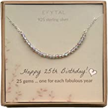 EFYTAL 25th Birthday Gifts for Women, Sterling Silver Necklace, 25 Beads for 25 Year Old Woman Jewelry Gift Idea