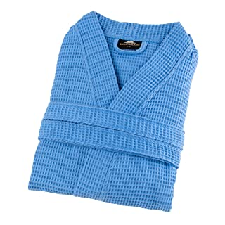 Image of Lightweight Turkish Cotton Waffle Spa Robe for Men - More Colors Available