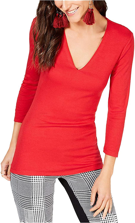 INC International Concepts Women's Long Sleeve VNeck Ribbed Top