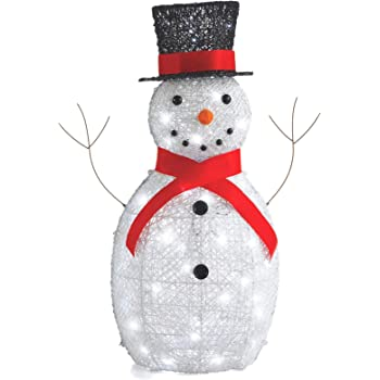 NOMA 3 Ft. Pre-Lit LED Light Up Snowman with Top Hat   Outdoor Christmas Lawn Decoration   3 Feet