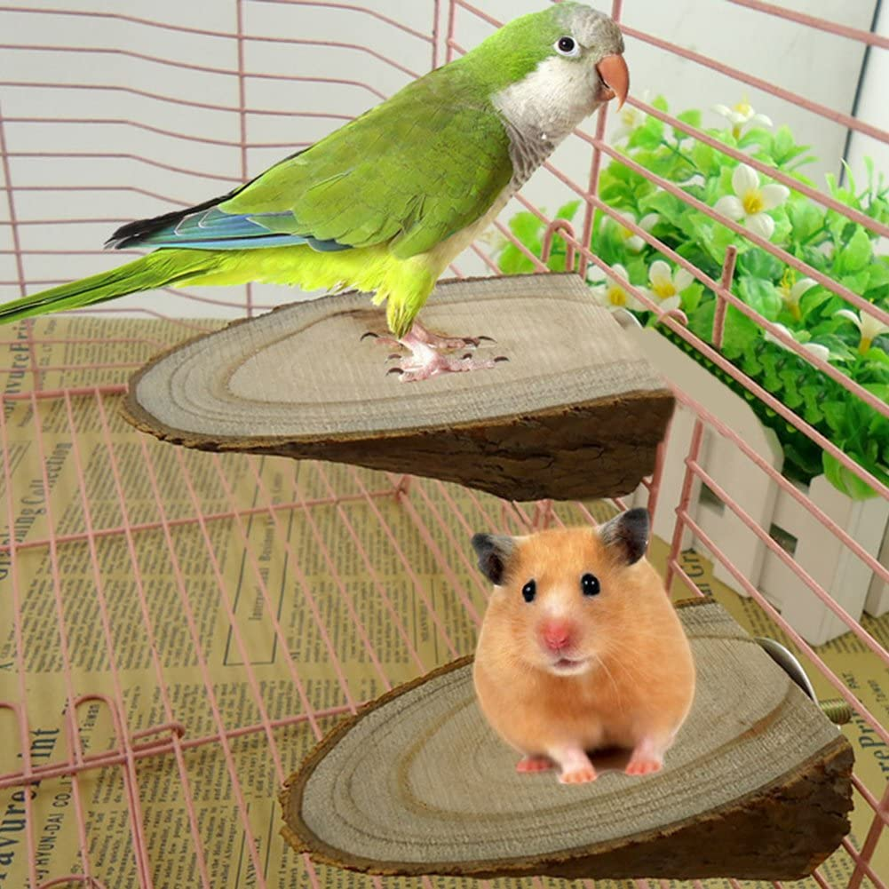 dontdo Pet Parrot Wood Platform Stand Rack Toy Hamster Branch Perches for Bird Cage Brain Game Training Tool