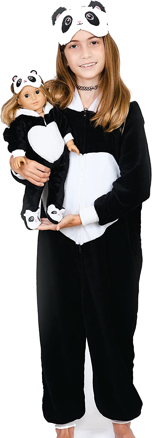 MY GENIUS DOLLS Panda Matching Onesie Pajamas and Sleepmasks - Fits Girl and 18 inch Doll Like American (Doll Not Included)