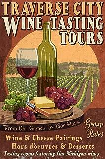 Traverse City, Michigan - Wine Tasting Vintage Sign (12x18 Art Print, Wall Decor Travel Poster)