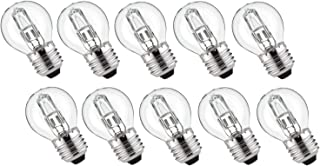 Lot de 10 ampoules halogènes Eco - Mini globe sphérique - 53 W = 65 W - Remplace 60 W 75 W E27 - Transparent - 2000 h - Bl...