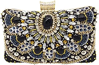 Songlin@yuan Rhinestone Sequins Handmade Beaded Evening Bag Ladies Wedding Banquet Celebration Dress Clutch Bag Pillow Square Chain Twill Shoulder Bag Size: 20 * 7 * 13cm (Color : Black)