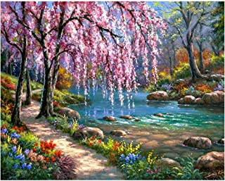 5D DIY Diamond Painting by Numbers Kits for Adult Kids, Full Drill Diamond Painting Dotz Dream Riverside Landscape Wall Decor Painting Stickers Arts Craft for Home