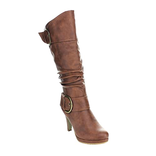 301a2bd1faf Top Moda Womens Page-22 Knee High Round Toe Buckle Slouched Low Heel Boots