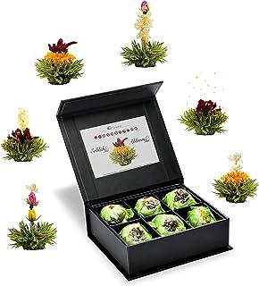 Creano Teeblumen Mix 6er ErblühTee grüner Tee Fruity Flavor in edeler Magnetbox mit Silberprägung