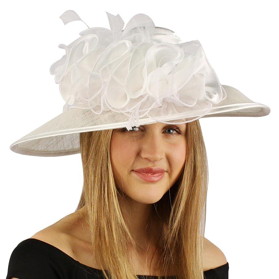 SK Hat shop Satin Flat Top Feathers Ruffles Kentucky Derby Floppy Bucket Church Hat