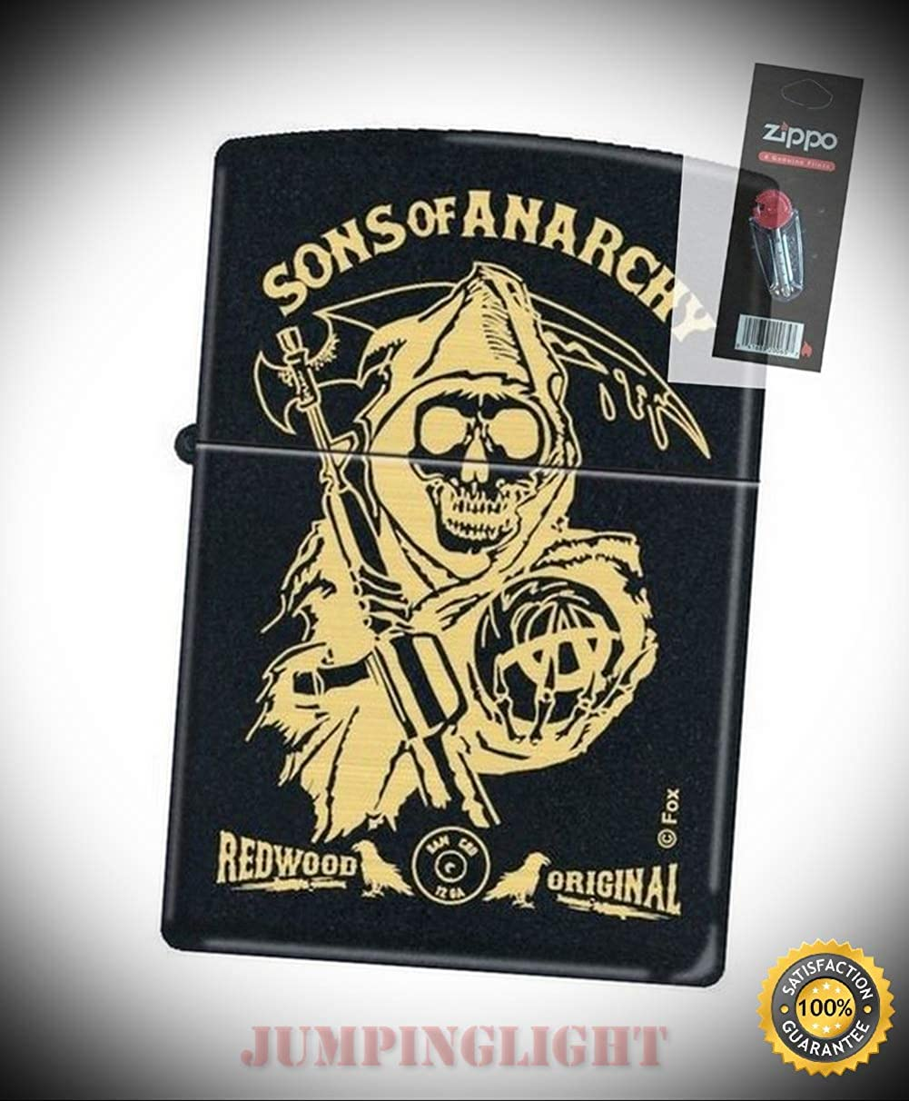 4745 sons of Anarchy Black Matte Full Size Lighter with Flint Pack - Premium Lighter Fluid (Comes Unfilled) - Made in USA!