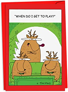 12 Reindeer Video Games - Boxed Christmas Cards with Envelopes (4.63 x 6.75 Inch) - Hilarious Reindeer Holiday Notes, Funny Holiday Cards, Unique Christmas Stationary C4527XSG-B12