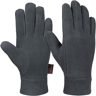 OZERO 防风保暖手套冬季手套衬垫保暖摇粒绒 - 寒冷天气中手保暖手套 黑色/灰色