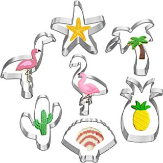 Hibery 7 Pcs Cookie Cutters Shapes - Cactus, Flamingo, Pineapple, Palm Tree, Shell, Starfish Metal Cookie Cutters for Baki...