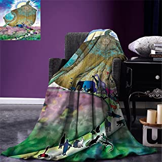 Fenlin Noahs Ark Throw Blanket Animals of The World Bible Story on Night Sea Mandala Patterns Religious Art Print Warm Microfiber All Season Blanket for Bed or Couch Multi
