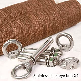 Iyengar Yoga Wall Ropes Sling Kit, Included 16mm Diameter White Cotton RopeX4, Stainless Steel Lifting Eyebolts, Brown Linen Cylinder CoverX4, Ideal For Inversion Exercises ( Size : Expansion boltX4 )