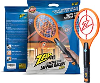 ZAP IT! Mini Bug Zapper - Rechargeable Mosquito, Fly Killer and Bug Zapper Racket - 4,000 Volt - USB Charging, Super-Bright LED Light to Zap in The Dark - Safe to Touch (Orange)