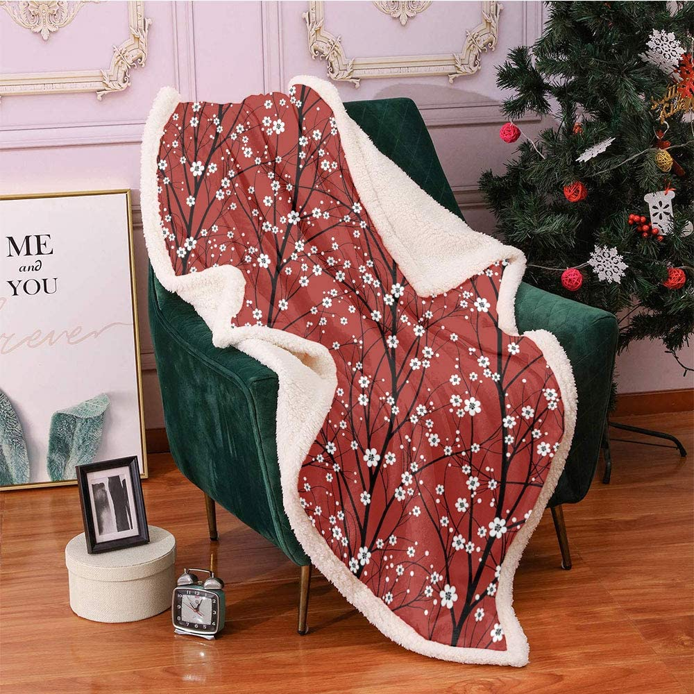 SeptSonne Floral Fleece Throw Blanket Cherry Fashionable Branch Blossom Easy-to-use Tree