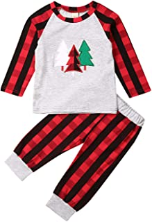 GuliriFei Christmas 2PCS Baby Girls Outfits Plaid Plain Blouse Pants Xmas Tree Sets