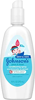 Johnson's Clean & Fresh Tear-Free Kids' Hair Conditioning Spray, Paraben-, Sulfate-, Dye-Free Formula, Hypoallergenic & Gentle for Toddlers' Hair with FreshBoost Fragrance, 10 fl. oz