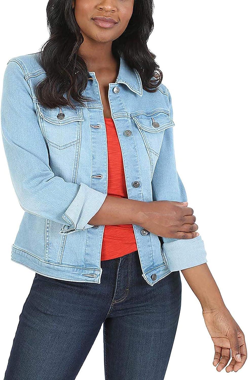FlekmanArt Denim Jacket for Women Casual Lapel Fashion Distressed Denim Long Sleeve Jean Jacket Coat Slim Outercoat Pockets