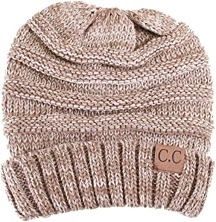 Plum Feathers Oversized Baggy Slouchy Thick Warm Winter Cable Knit Beanie Hat