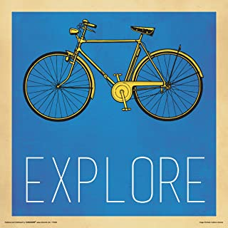 Culturenik Explore Yellow Bicycle Inspirational Motivational Decorative Print (Unframed 12x12 Poster)