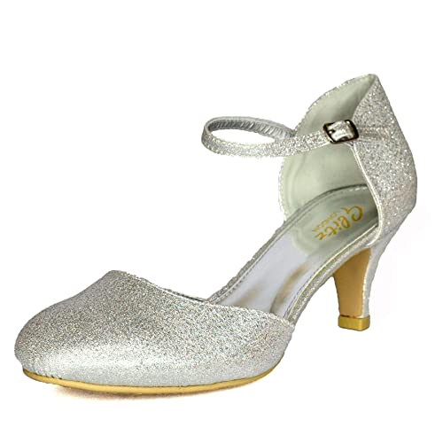 b1d8ea126bc37 Womens Glitter Low Kitten Heel Shoes Mary Jane Ankle Strap Pumps Dress  Sandals Size 3-