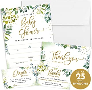 Printperie 25 Greenery Baby Shower Invitation Set with Envelopes - Gender Neutral Blank Fill-in Invites for Boy or Girl - Includes Books for Baby, Diaper Raffle, and Thank You Cards